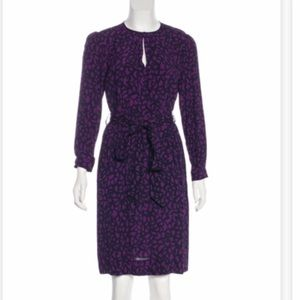 BURBERRY | Purple Long Sleeve Midi Dress